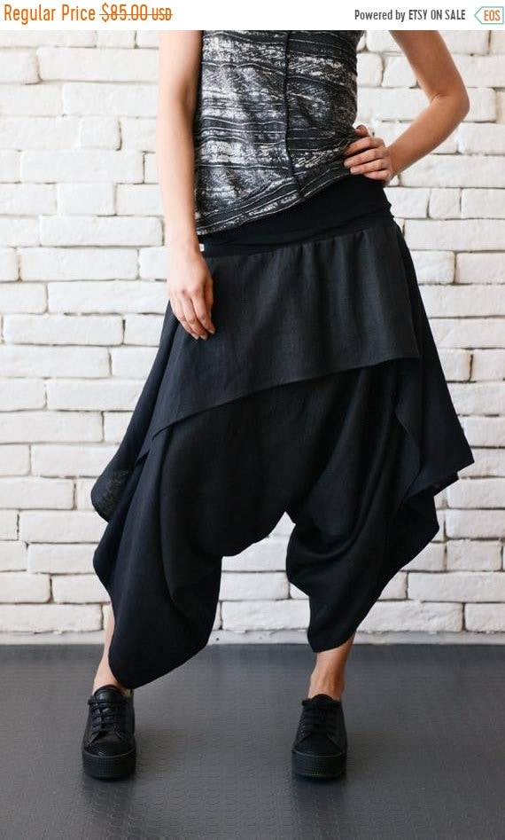 20% OFF Black Asymmetric Skirt Pants/Drop Crotch Loose Pants/Extravagant Linen Trousers/Black Gypsy Pants/Linen Maxi Pants METP0042
