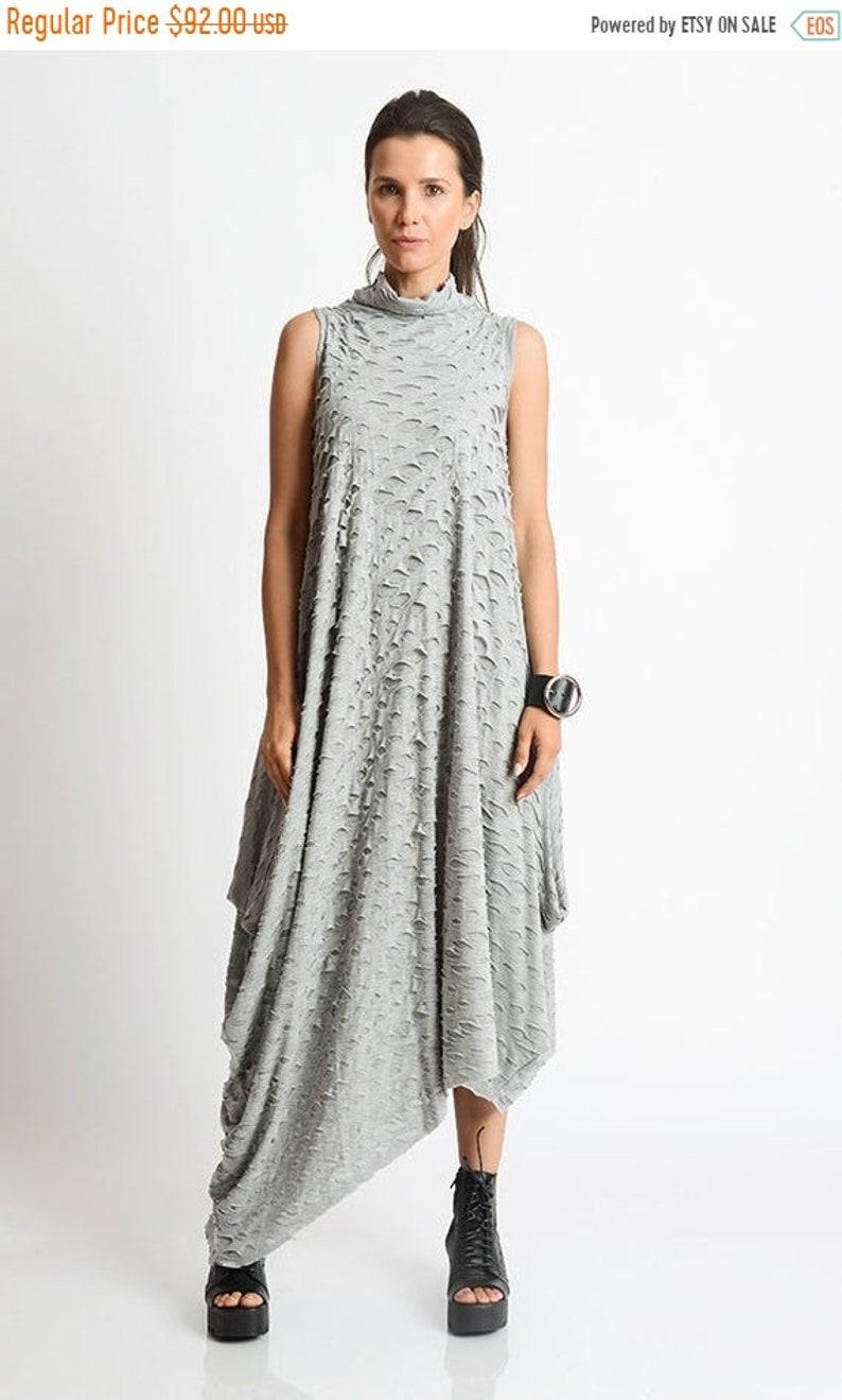 SALE Grey Asymmetric Loose Dress/Handmade Maxi Dress/Oversize Grey  Kaftan/Grey Distressed Dress/Sleeveless Polo Dress/Plus Size Maxi Dress