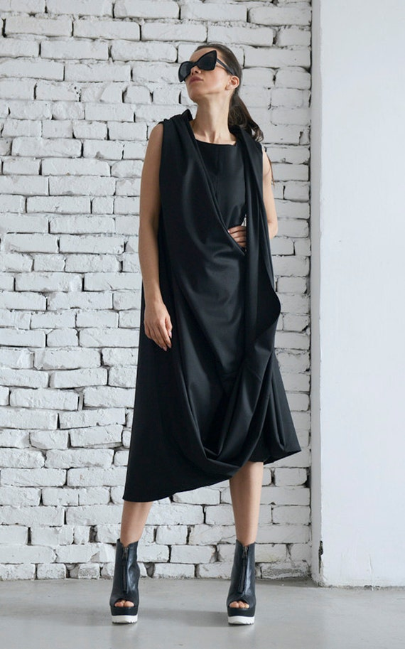 Black Maxi Dress / Loose Long Black Dress / Kaftan / Oversize Black Tunic / Asymmetrical Wrapped Top by METAMORPHOZA