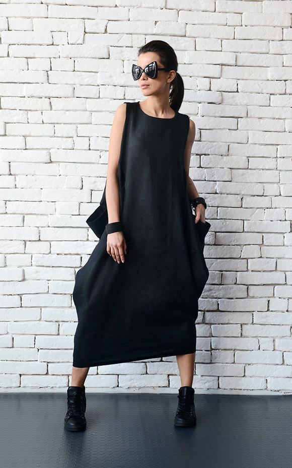 5eaadc0185a ... Kaftan Loose Linen Long Dress Asymmetric Plus Size Dress Oversize Long  Tunic Comfortable Black Day Dress. gallery photo gallery photo ...