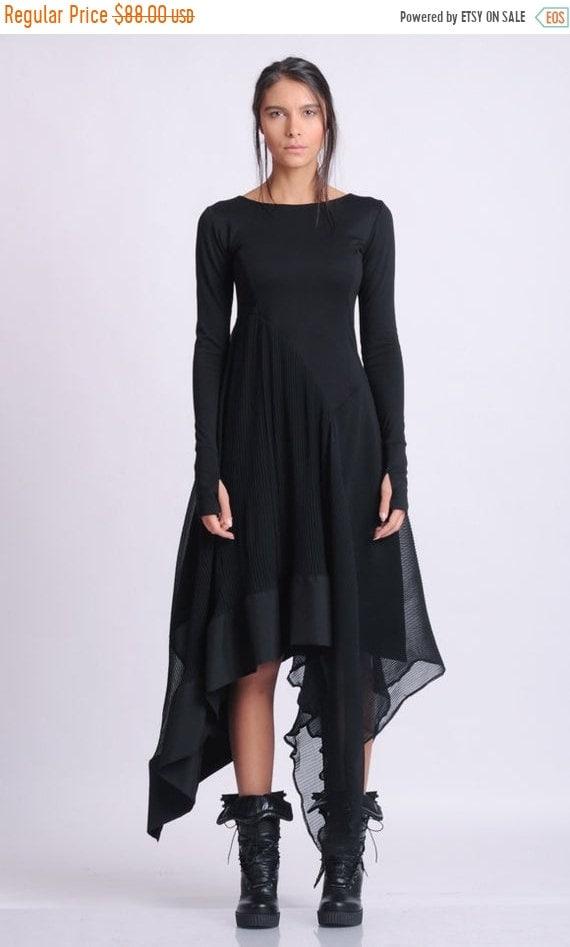10% OFF NEW Long Sleeve Asymmetric Dress/Thumb Hole Sleeve Dress/Casual Pleated Dress/Black Chiffon Dress/Everyday Comfortable Dress/Boat Ne