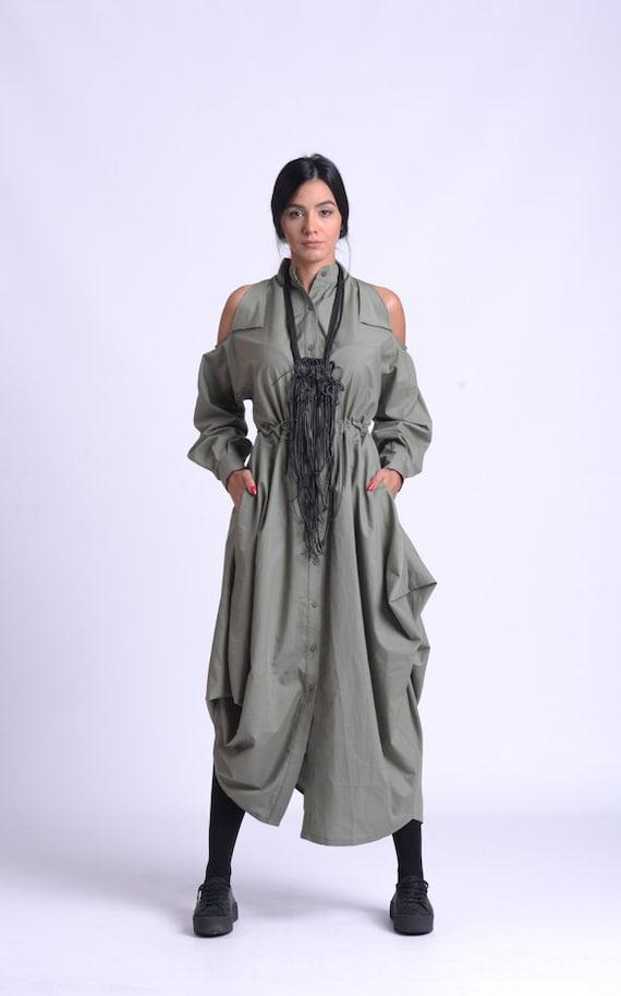 NEW Long Loose Collar Dress/Asymmetric Button Dress/Cut Out Shoulder Dress /Oversize  Dress/Extravagant Shirt Dress METD0152