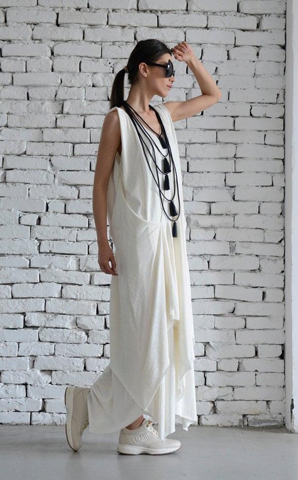 a78159281ed ... Dress Asymmetric Maxi Dress Sleeveless Loose Kaftan Casual White Dress Summer  Oversize Tunic Plus Size Dress by METAMORPHOZA. gallery photo gallery ...