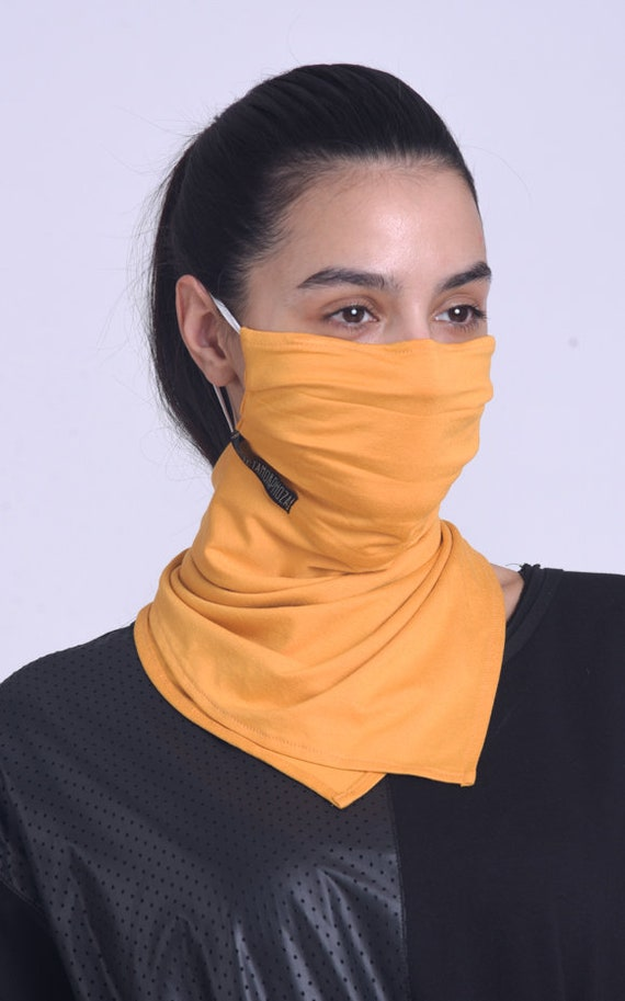 Mustard Protection Mask/Comfortable Neck Gaiter/Everyday Casual Bandana/Safety Mask with OEKO Filter/Face and Neck Cover Mask/Mask with Ties