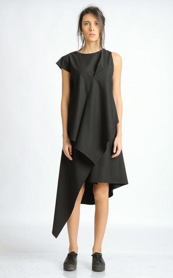 Black Asymmetric Tunic Dress/One Short Sleeve Dress/Extravagant Summer Zipper Dress/Casual Black Long Tunic/Loose Oversize Dress METD0119