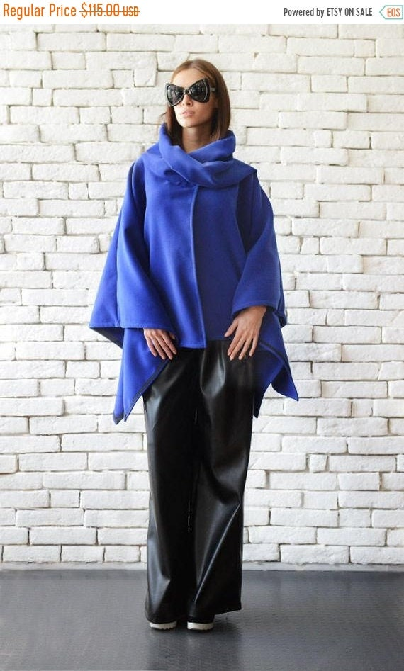 25% OFF Asymmetric Loose Blue Coat/Extravagant Royal Blue Poncho/Plus Size Cardigan/Elegant Jacket/Oversize Tunic/Blue Long Top/Blue Coat ME