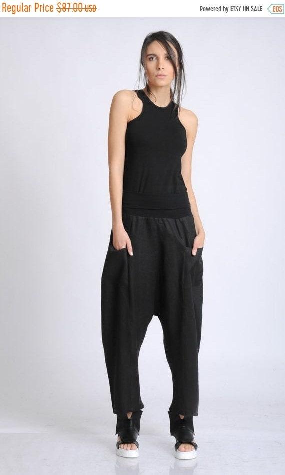 20% OFF NEW Black Plus Size Pants/Long Maxi Pants/Linen and Cotton Baggy Pants/Oversize Loose Trousers/Casual Comfortable Pants/Black Everyd