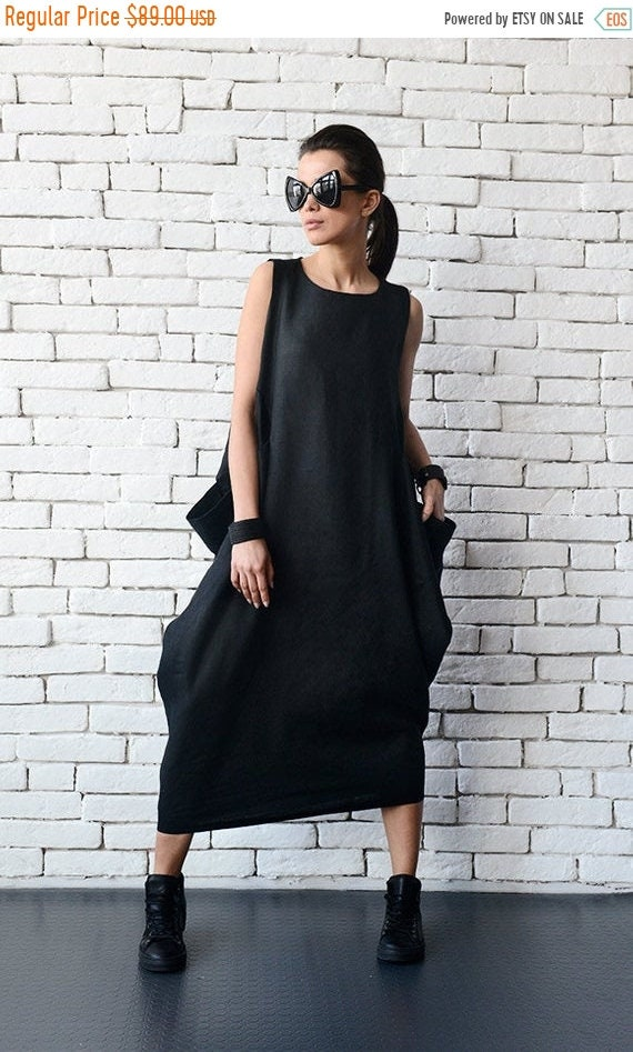 369b2040894a SALE Maxi Linen Dress/Black Linen Kaftan/Plus Size Maxi Dress/Long Sleeveless  Dress/Everyday Casual Dress/Loose Evening Comfortable Black Dr