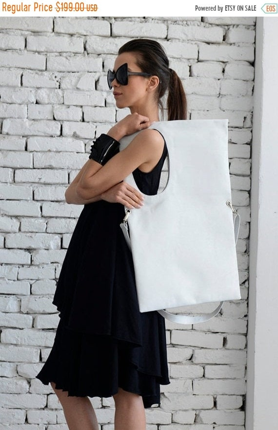 15% OFF Large White Leather Bag/Rectangle Shape Tote/Extravagant Maxi Bag/White Handbag/Oversize White Shoulder Bag/Adjustable Strap Bag/Max