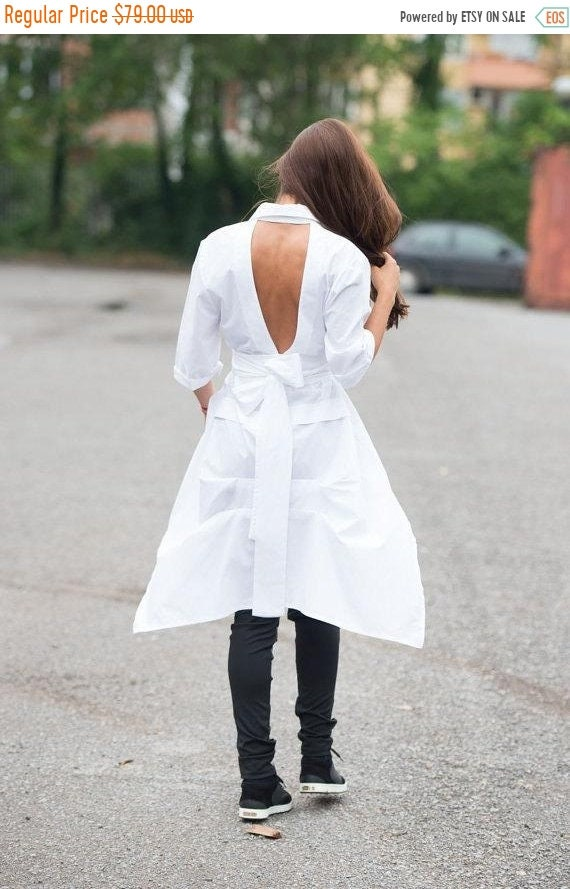 20% OFF Asymmetric White Shirt/V Shaped Cutout Back Shirt/Long White Tunic/Formal Loose Top/Loose Bottom Shirt/Extravagant White Tunic METSh
