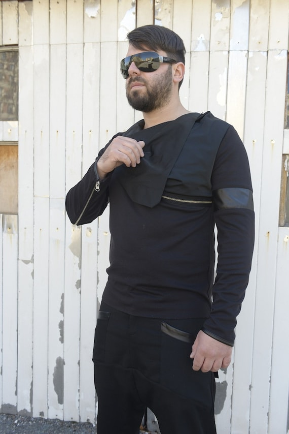 Men Tunic With Collar / Black Blouse / Long Sleeve Tunic / Leather Design Blouse by METAMORPHOZA