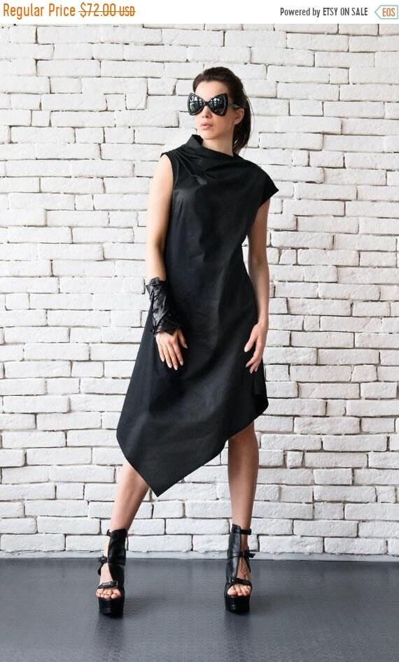 20% OFF Loose Black Tunic Dress/Asymmetric Black Dress/Sleeveless Party Dress/Black Summer Kaftan/Long Short Dress/Plus Size Dress/Maxi Blac