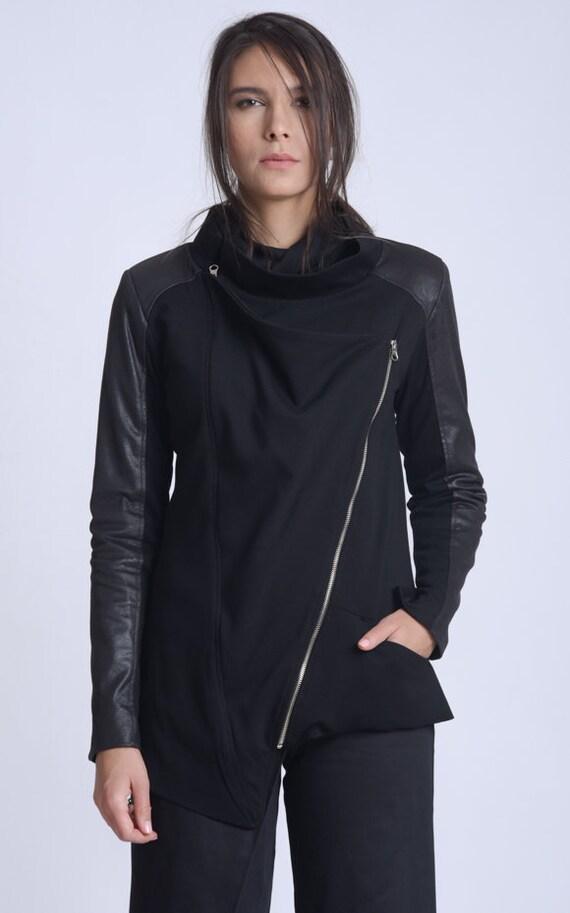 NEW Asymmetric Casual Jacket/Black Zipper Jacket/Extravagant Suede Unisex Jacket/Black Everyday Coat/Asymmetric Suede Top/Black Coat