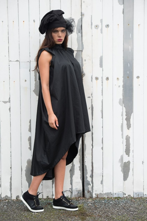 Asymmetrical Maxi Black Dress / Sleeveless Casual Short Dress / Loose Black Tunic Top by METAMORPHOZA