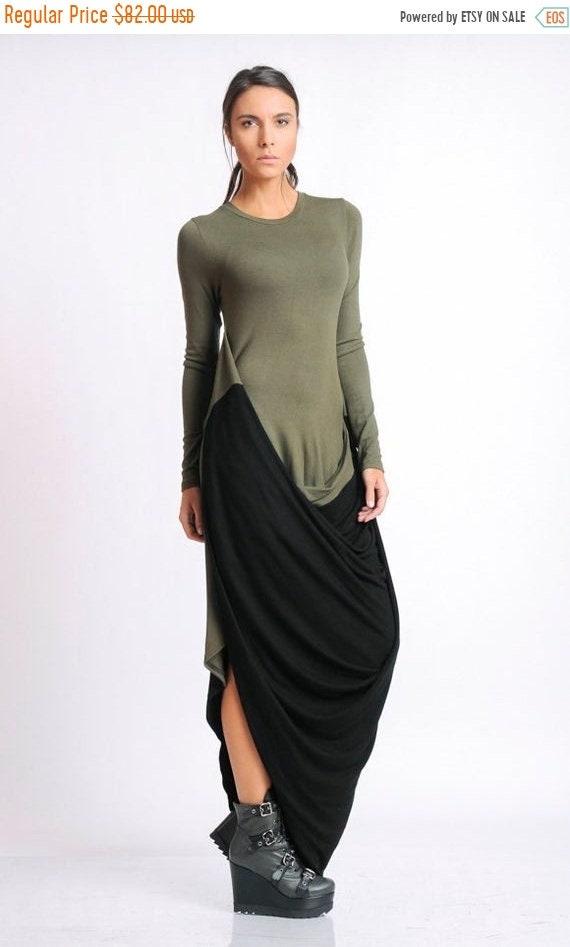 20% OFF Long Dress/Multi Color Dress/Extravagant Khaki and Black Dress/Long Sleeve Asymmetric Dress/Casual Everyday Dress METD0114