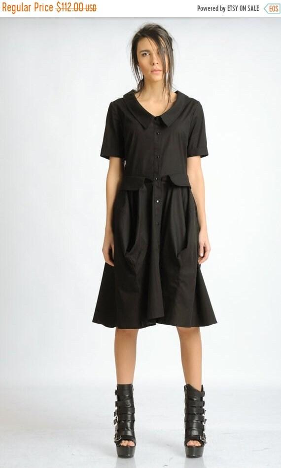 20% OFF Extravagant Black Shirt Dress/Short Sleeve Collar Dress/Casual Knee Length Dress/Oversize Button Dress/Comfortable Everyday Black Dr