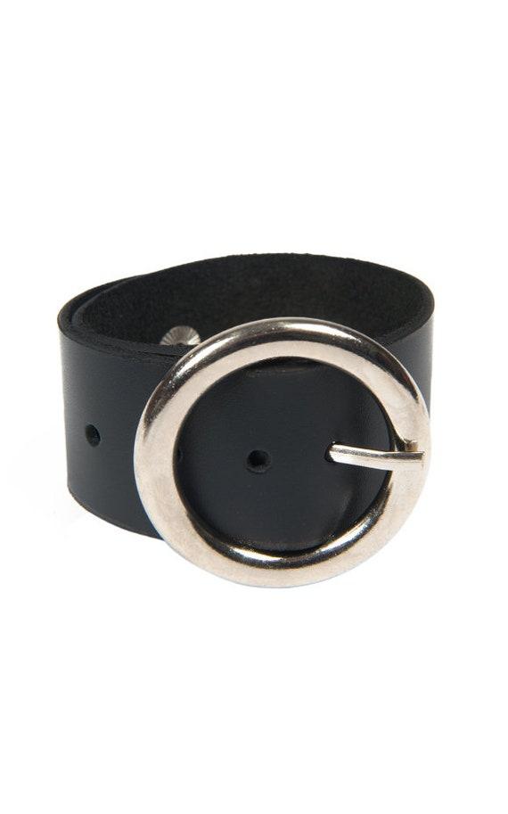 Black Buckle Bracelet/Genuine Leather Hand Accessory/Handmade Leather Band/Extravagant Black Leather Bracelet/Black Wide Wrist Bracelet