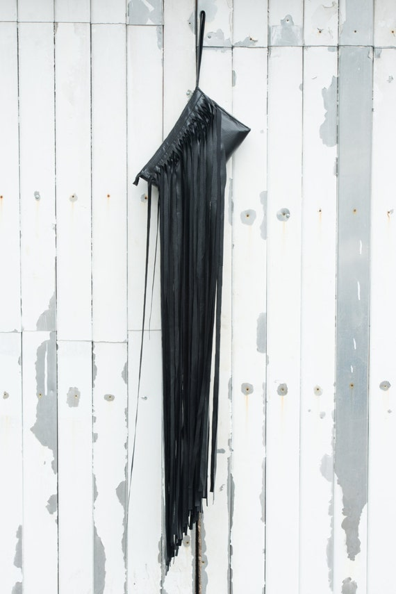 Black Womens Bag / Leather Bag / Evening Clutch / Clutch with Fringes / Extravagant Clutch