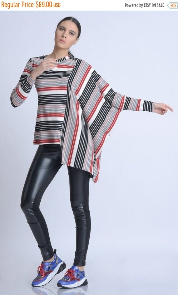20% OFF NEW Extravagant Colorful Maxi Tunic/Long Sleeve Asymmetric Top/Plus Size Multi Color Tunic/Stripe Casual Blouse/Oversize Loose Top M