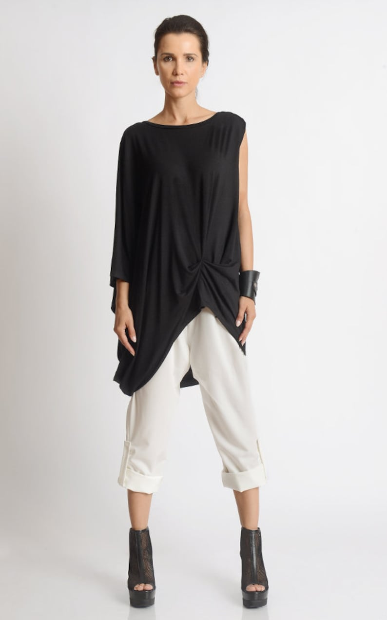 Black Asymmetric Tunic/Black Maxi Top/Plus Size Tunic image 0