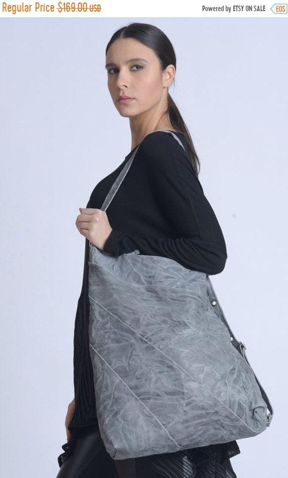 15% OFF NEW Grey Maxi Bag/Genuine Leather Shoulder Bag/Oversize Purse/Adjustable Strap Bag/Large Tote Bag/Everyday Handbag/Asymmetric Leathe