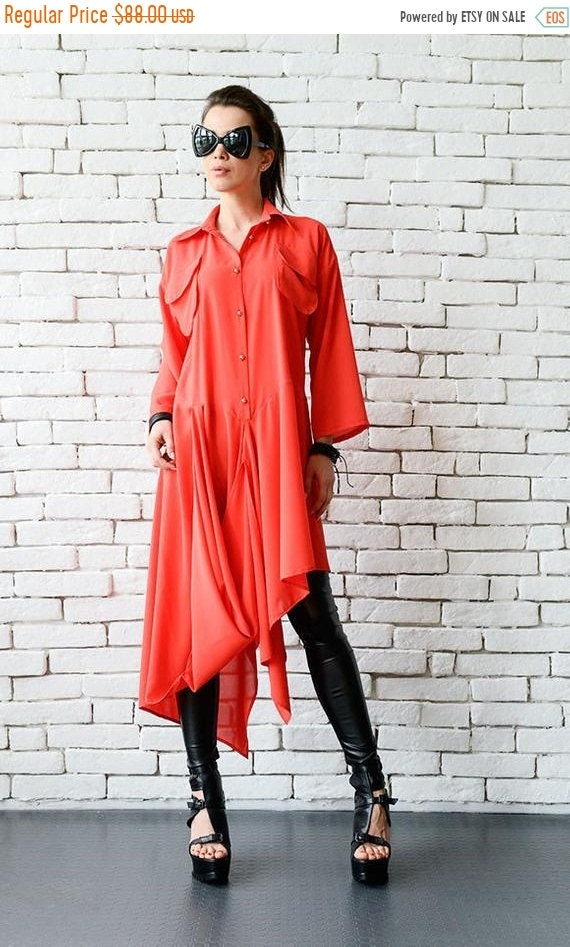 20% OFF Red Plus Size Loose Tunic/Red Asymmetric Shirt/Oversize Long Short Top/Long Sleeve Shirt Dress/Red Maxi Dress/Extravagant Formal Tun