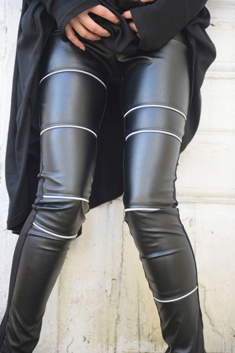 20% OFF Black Leather Tight Pants/Extra Long Pants with image 0