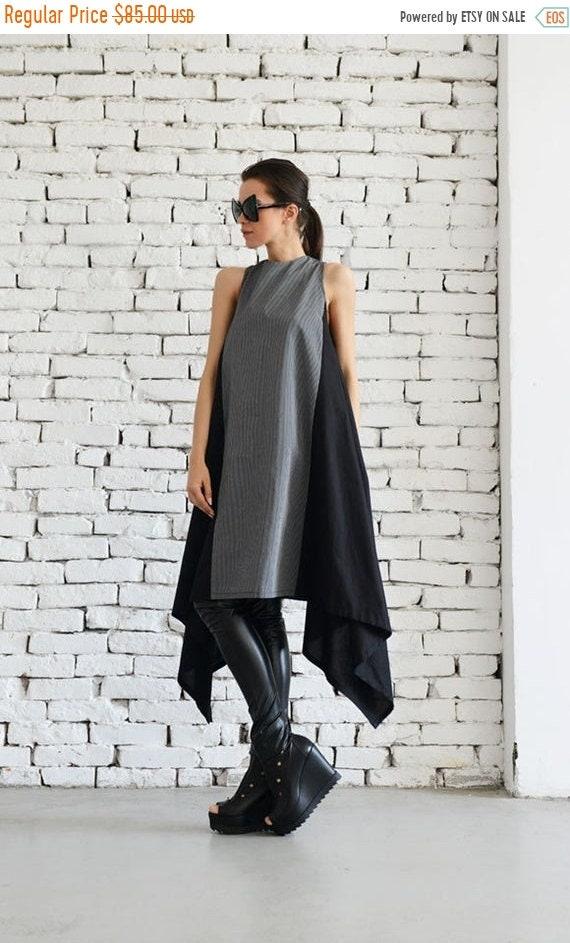 20% OFF Sexy Asymmetrical Two Color Spring Dress/Loose Black Kaftan/Short Black Maxi Dress/Sleeveless Casual Everyday Dress/Oversize Tunic M