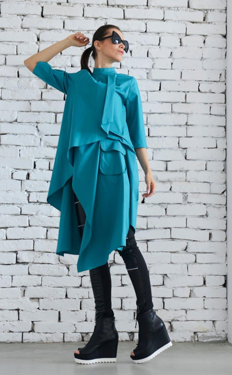 3eb0ee4e0cc Extravagant Turquoise Shirt / Shirt Dress / Turquoise Dress / | Etsy