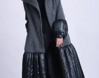Extravagant Long Coat/Loose Winter Coat/Grey and Black Zipper Jacket/Elegant Dress Coat/Puffy Lined Coat/Large Collar Coat METC0077