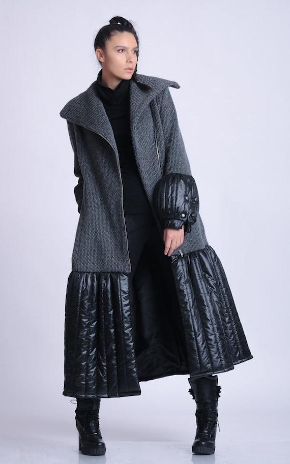 NEW Extravagant Long Coat/Loose Winter Coat/Grey and Black Zipper Jacket/Elegant Dress Coat/Puffy Lined Coat/Large Collar Coat METC0077