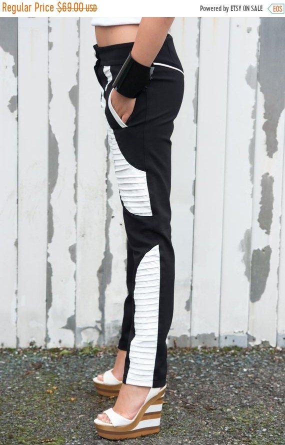 20% OFF Black and White Pants / Leather Pants / Cigarette Pants - XXL, XXXL, Xxxxl Available