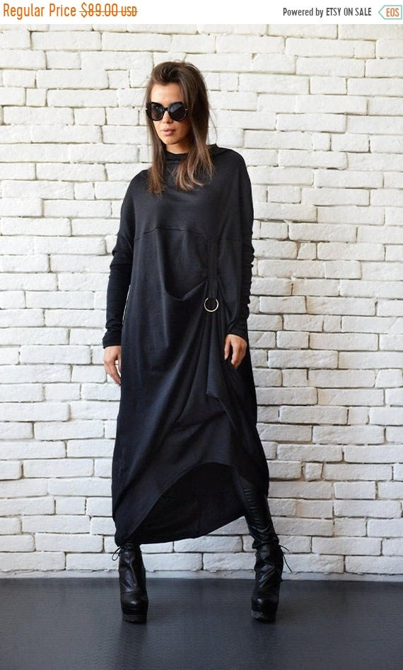 20% OFF Plus Size Maxi Dress/Alternative Fashion Dress/Black Kaftan/Long Sleeve Asymmetric Tunic/Loose Dress with Metal Ring METD0091