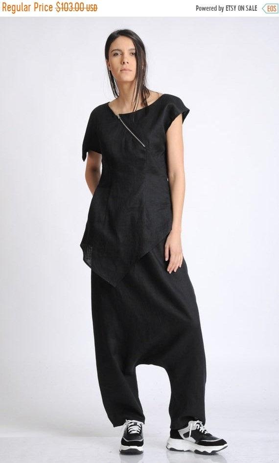 20% OFF Black Harem Pants/Oversize Loose Trousers/Black Linen Pants/Plus Size Pants/Black Maxi Pants/Casual Linen Pants/Drop Crotch Trousers