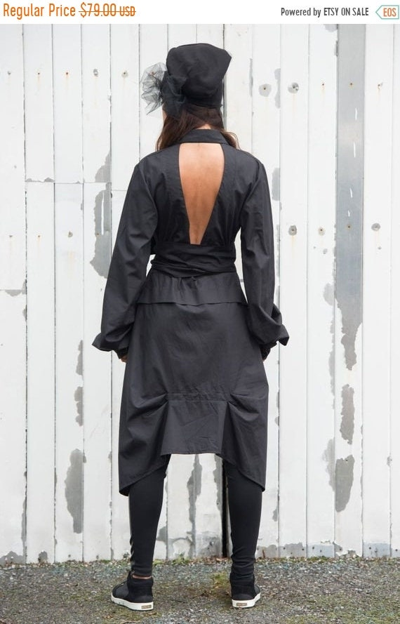 20% OFF Asymmetric Black Shirt / Womens Tunic / Tunic Top / Loose Shirt with Belt / Open Back Sexy Top / Long Sleeve Top / Extravagant Tunic