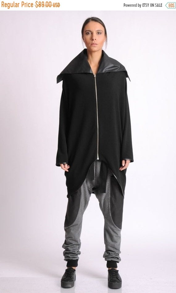 40% OFF Long Black Cardigan/Asymmetric Jacket/Black Extravagant Jacket/Maxi Coat/Extra Large Collar Tunic/Black Zipper Jacket/Black Maxi Jac