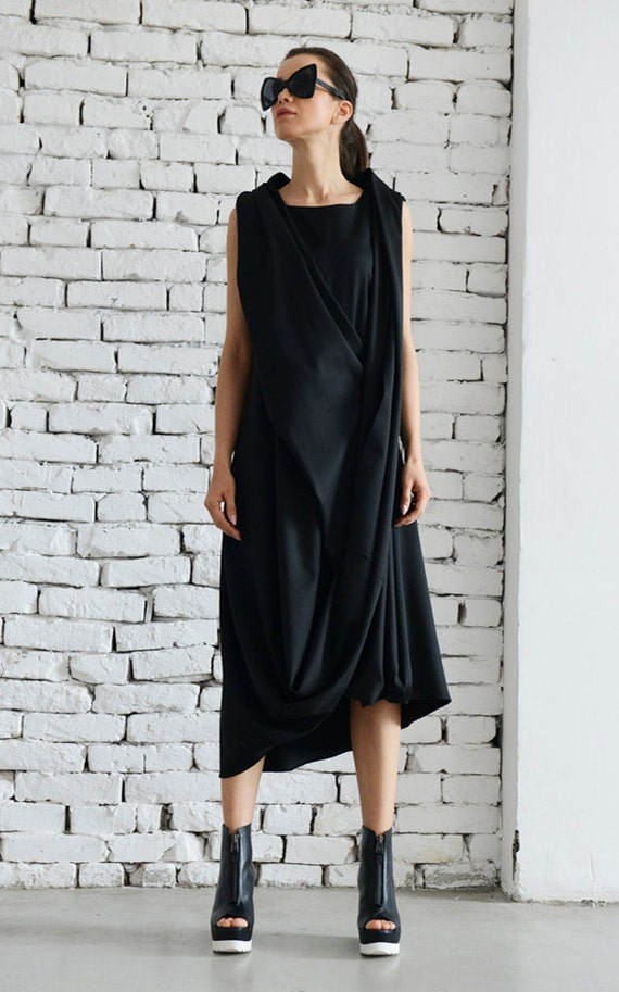 Black Maxi Dress/Loose Midi Dress/Twisted Tunic/Long Tunic Top/Maxi Black Dress/Black Loose Kaftan/Asymmetric Tunic Dress METD0008