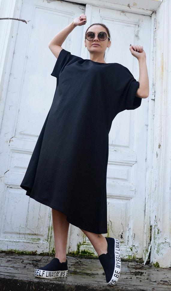 Oversize Loose Black Dress/Plus Size Black Tunic/Maxi Black Dress with Sleeves/Long Casual Tunic Top/Black Kaftan/Black Dress METD0023