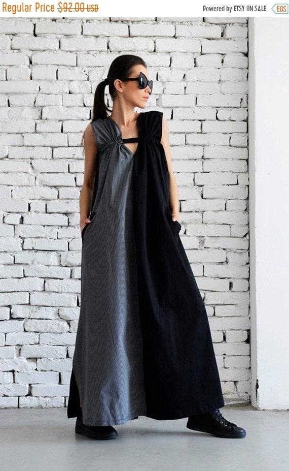 35% OFF Black and Grey Maxi Dress /Grey and Black Asymmetrical Kaftan/Extravagant Long Loose Dress /Party Dress /Daywear Dress by METAMORPHO