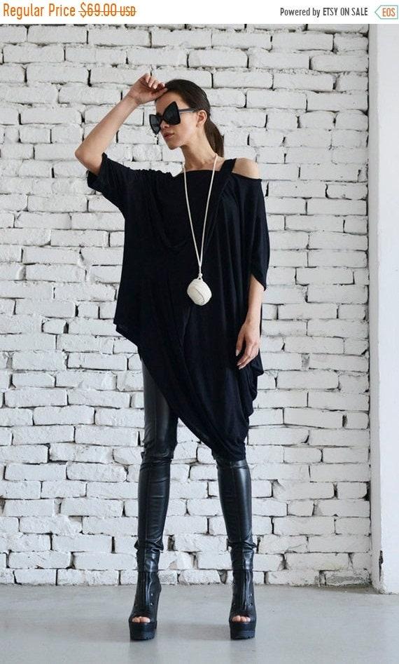 20% OFF Black Asymmetric Loose Tunic/Extravagant Maxi Blouse/Plus Size Casual Top/Long Tunic Top/Short Sleeve Black Shirt/Short Black Dress