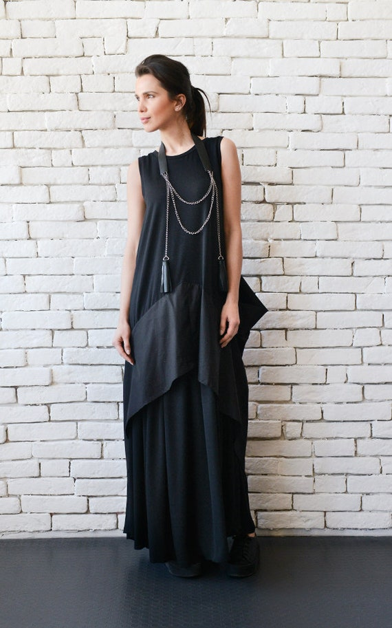 Black Maxi Dress/Extravagant Black Kaftan/Asymmetric Plus Size  Dress/Sleeveless Oversize Tunic Top/Suspenders Back/Casual Everyday Dress