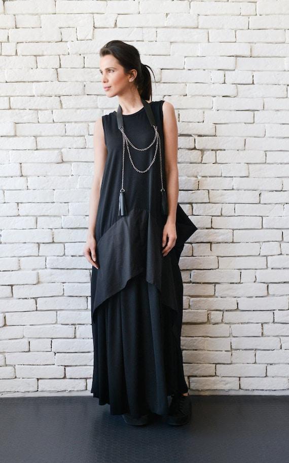 Plus Size Maxi Dress/Black Maxi Dress/Black Kaftan/Sleeveless Long Black  Dress/Black Maxi Dress with Back Accent/Asymmetric Black Dress
