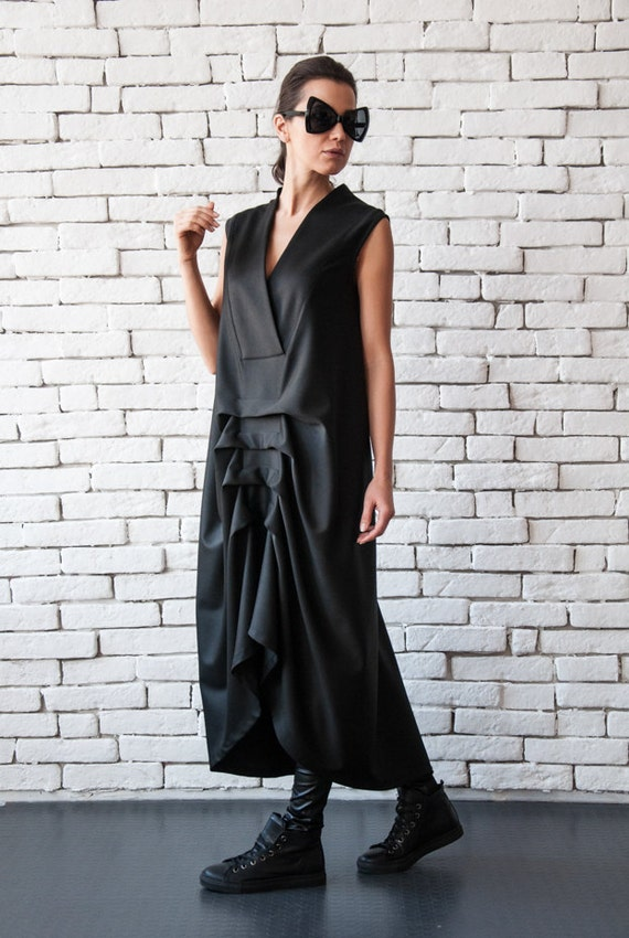 Asymmetric Black Dress/Loose V Neck Dress/Sleeveless Maxi Dress/Maxi Black Dress/Draped Dress/Loose Black Dress/Black Kaftan/Plus Size Dress