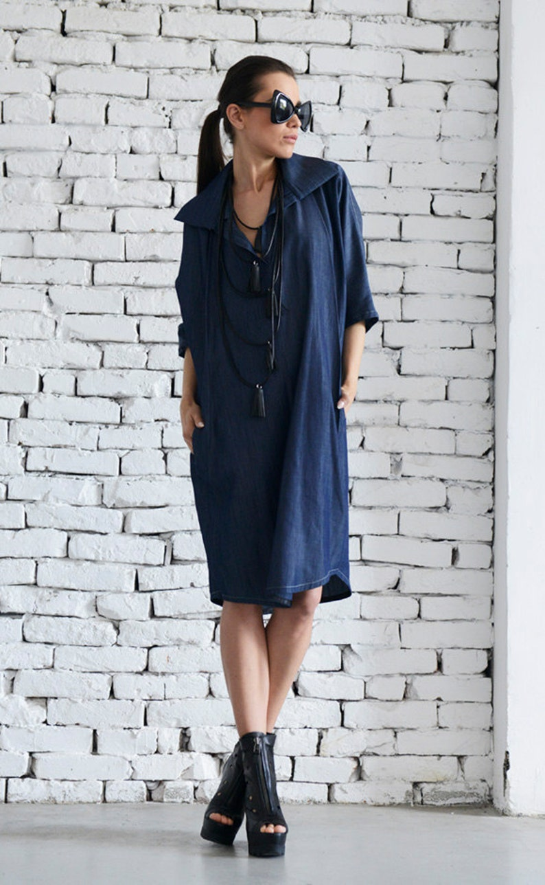 1b3499245c1 Denim Tunic Dress   Maxi Long Top   Tunic Dress with Collar