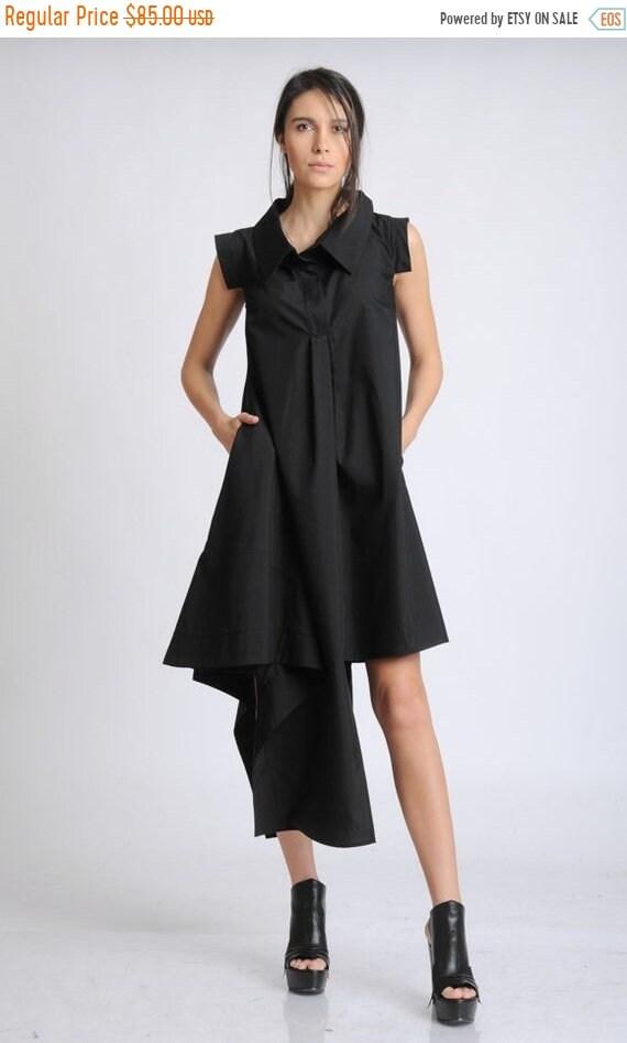 20% OFF Black Loose Casual Dress/Sleeveless Asymmetric Tunic Dress/Black Shirt Dress/Extravagant Summer Dress/Oversize Long Top/Pocket Dress
