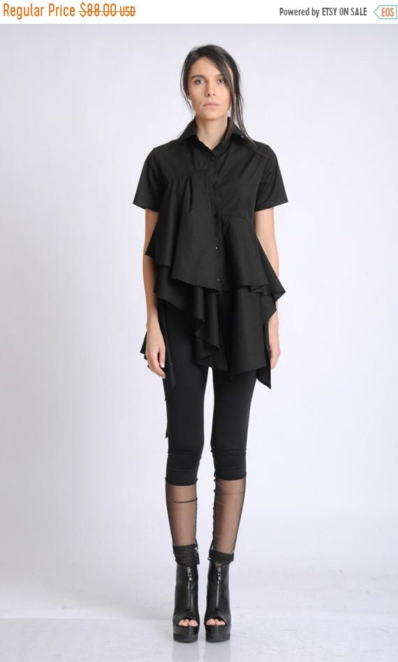 20% OFF NEW Black Asymmetric Shirt/Extravagant Draped Top/Short Sleeve Button Shirt/Loose Shirt/Long Oversize Top/Elegant Ruffle Tunic METSh