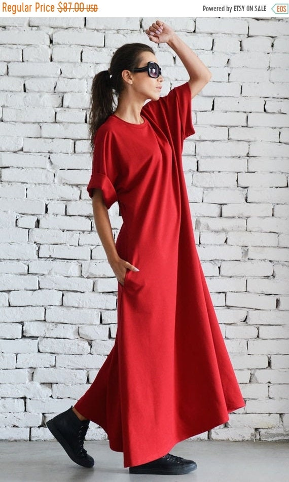 20% OFF Blood Red Maxi Dress/Oversize Loose Dress/Extravagant Short Sleeve Kaftan/Casual Work Dress/Oversize Long Tunic/Plus Size Red Dress