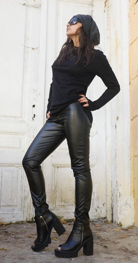 Black Extra Long Leggings/Leather Pants/Slim Fit Black Pants/Black Eco Leather Leggings/Leather Cigarette Pants/Tight Black Pants METP0007