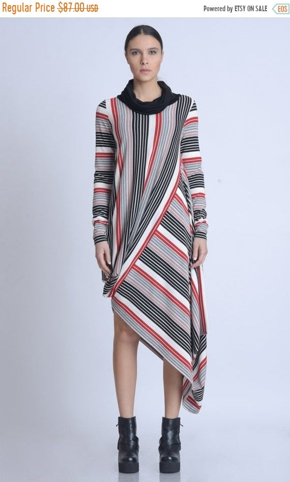 20% OFF NEW Multi Color Stripe Dress/Extravagant Asymmetric Dress/Long Sleeve Polo Dress/Loose Striped Dress/Colorful Pattern Dress METD0134