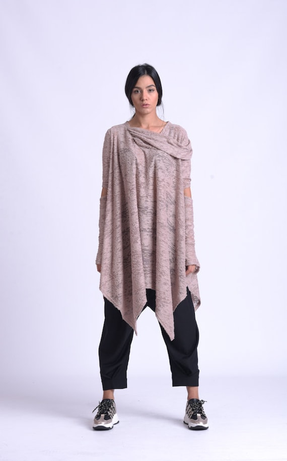 NEW Extravagant Oversize Tunic/Beige Maxi Top/Plus Size Transparent Tunic/Thumb Hole Sleeve Loose Blouse/Casual Comfortable Tunic METT0171